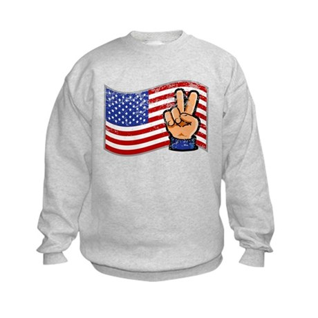 Patriotic Peace Hand Kids Sweatshirt