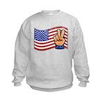 Patriotic Peace Hand Kids Sweatshirt