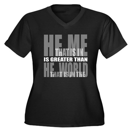 He is Greater Women's Plus Size V-Neck Dark T-Shir