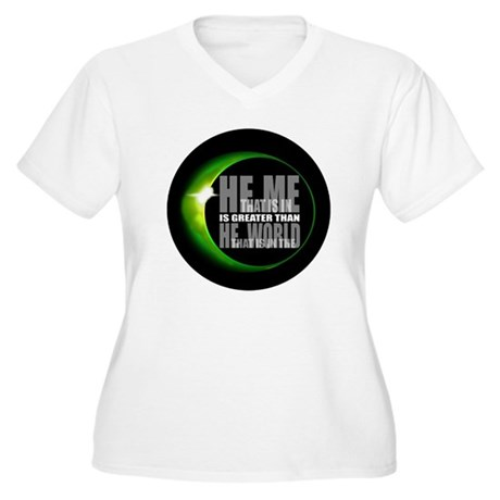 He is Greater Women's Plus Size V-Neck T-Shirt