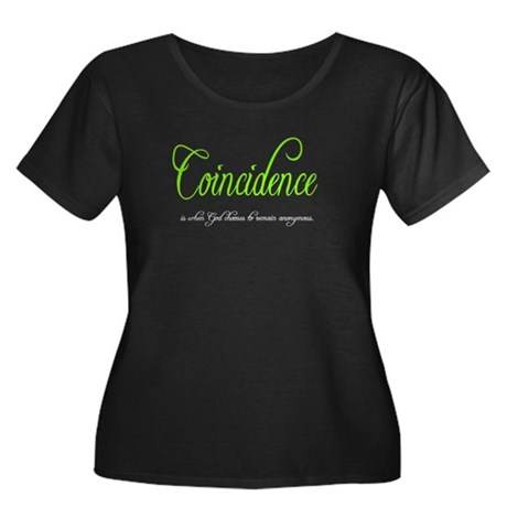 Coincidence Women's Plus Size Scoop Neck Dark T-Sh