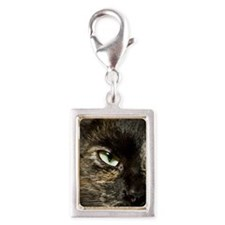 Green eyed brown cat Silver Portrait Charm