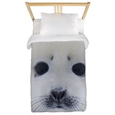 Harp Seal pup on ice Twin Duvet
