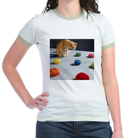 Ginger tabby cat sitting on table lo T-Shirt