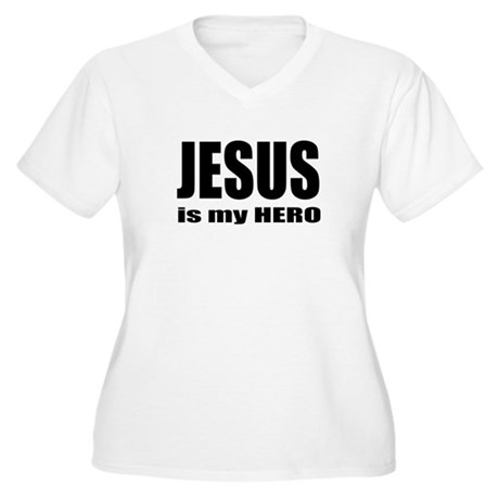 Jesus is Hero Women's Plus Size V-Neck T-Shirt