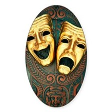 Golden comedy and tragedy masks on  Decal