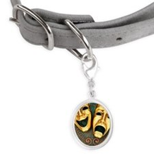 Golden comedy and tragedy masks Small Oval Pet Tag