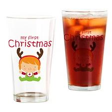Reindeer Girl 1st Christmas Drinking Glass