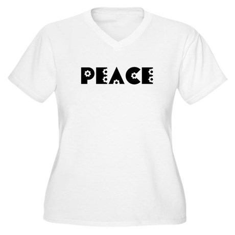 Peace Women's Plus Size V-Neck T-Shirt