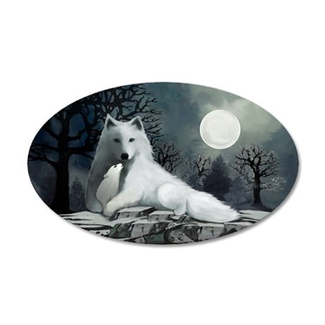 White Wolf with Pup 35x21 Oval Wall Decal