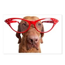 dog with oversize glasses Postcards (Package of 8)