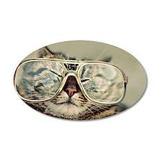 Grumpy cat wearing huge glas 35x21 Oval Wall Decal