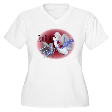Faith Releases Women's Plus Size V-Neck T-Shirt