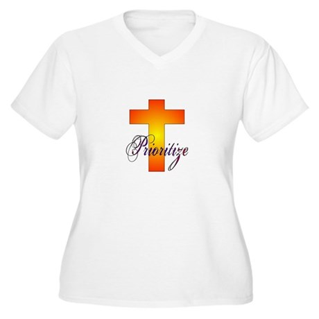 Prioritize Cross Women's Plus Size V-Neck T-Shirt