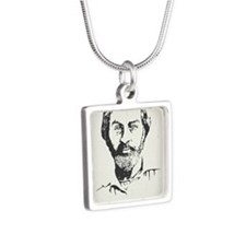 walt-whitman-LG Silver Square Necklace