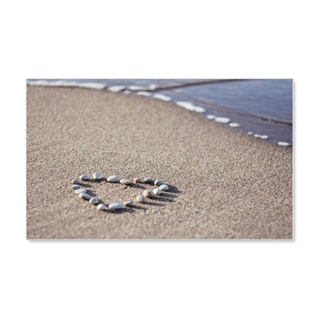 Heart made of pebbles on sand, Po 20x12 Wall Decal