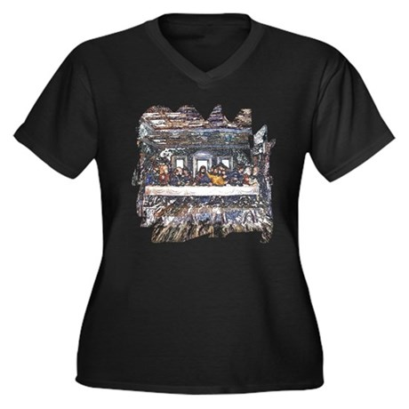 Lord's Last Supper Women's Plus Size V-Neck Dark T