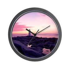 Lighthouse at sunset, Peggy's Cove, Nov Wall Clock