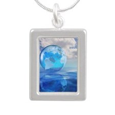 Globe floating over wate Silver Portrait Necklace