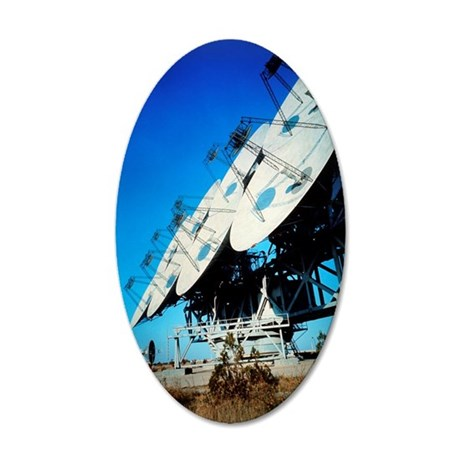 Array of radio receiving dis 35x21 Oval Wall Decal