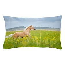 Horse running in field. Pillow Case