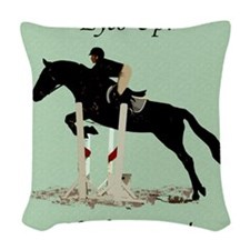 Eyes Up! Heels Down! Horse Woven Throw Pillow
