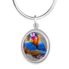 mandrill Silver Oval Necklace