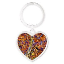 Sax In The City Jazzy Music Paintin Heart Keychain