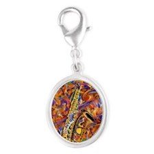 Sax In The City Jazzy Music Pai Silver Oval Charm