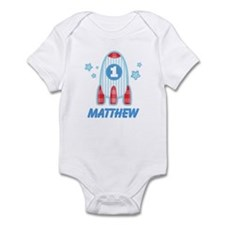 1st Birthday Rocket Ship Personalized Infant Bodys