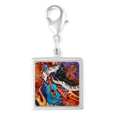 Jazz Supper Club Dreamy Guita Silver Square Charm