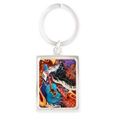 Jazz Supper Club Guitar Curvy Pi Portrait Keychain