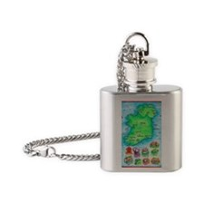 Illustrated Map of Ireland Flask Necklace