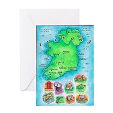 Illustrated Map of Ireland Greeting Card