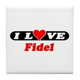I Love Fidel Tile Coaster