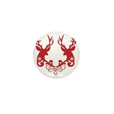 Christmas deer heads with ornaments Mini Button