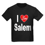 I Love Salem (Front) Kids Dark T-Shirt