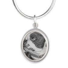 PODO Portraits -- Boston Terr Silver Oval Necklace