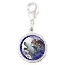 PET TAG HEART SHAPE-MOON WOLF Silver Round Charm