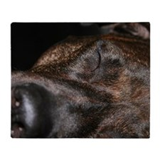 Brindle Dog Face with eyes closed Throw Blanket