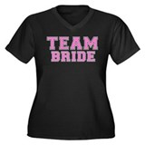 Team Bride (Pink) Women's Plus Size V-Neck Dark T-
