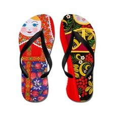 Painting of Russian Matryoshka doll Flip Flops