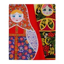 Painting of Russian Matryoshka doll Throw Blanket