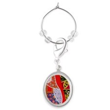 Painting of Russian Matryoshka dol Oval Wine Charm
