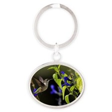 Hummingbird and Salvia_RGB1970 Oval Keychain