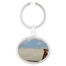 Airedale Terrier by the sea Oval Keychain