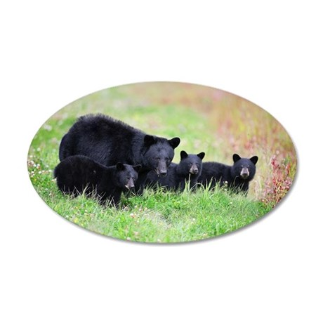 Black bear family 35x21 Oval Wall Decal