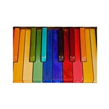 Rainbow piano keyboard Rectangle Magnet