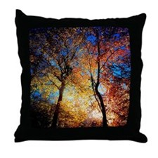 Sunlight Shining Through Autumn Trees Throw Pillow