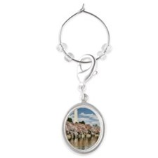 Tidal Basin Blossoms Oval Wine Charm